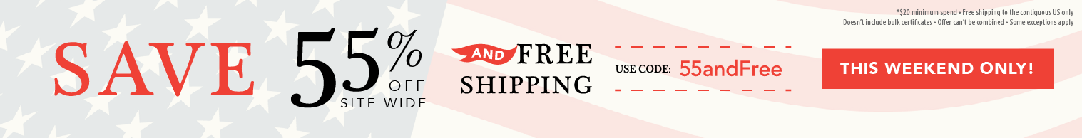 45% off orders over $20 and free shipping to contiguous US with code 45andFree